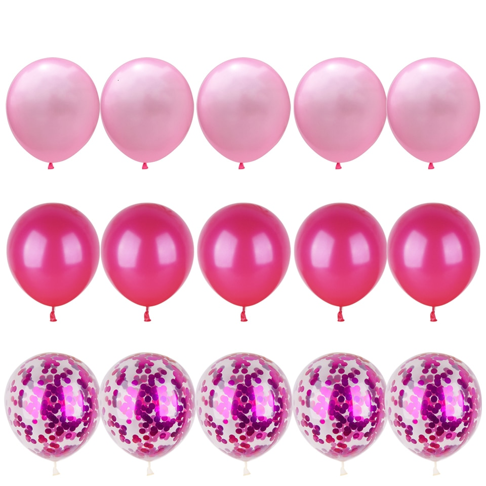 Party Ballon Set with Ribbon and Confetti Inside