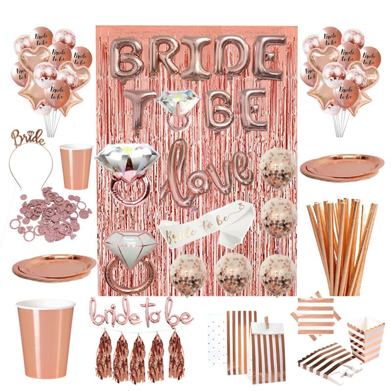 Rose Gold Bachelorette Party Tableware and Decorations