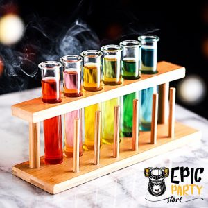 Test Tube Cocktail Glasses Set of 6 with Rack