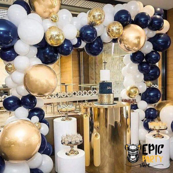 Navy Blue and Gold Balloon Set 100 pcs