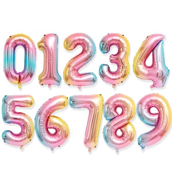 16 32inch Number Foil Balloon Rose Gold Silver Discolor Digital Globos Birthday Party Decoration Baby Shower 3