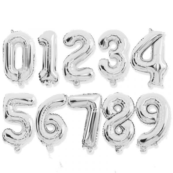 16 32inch Number Foil Balloon Rose Gold Silver Discolor Digital Globos Birthday Party Decoration Baby Shower 5