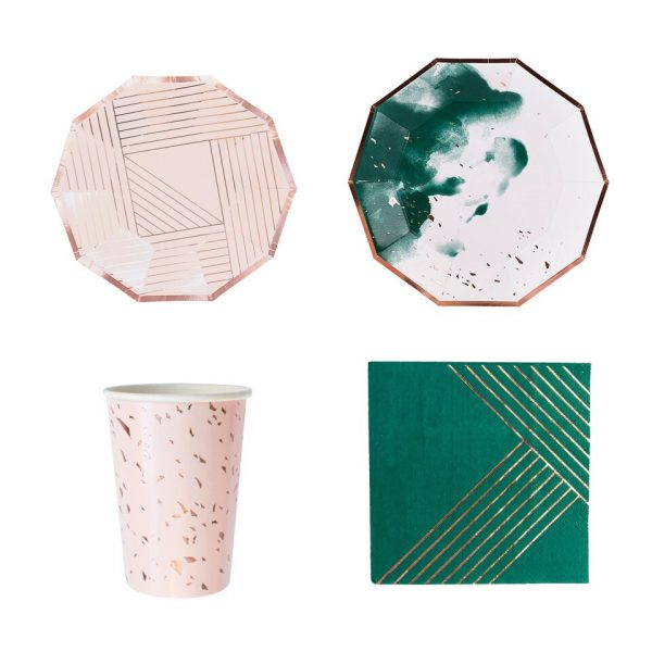 1Set Green Pink Ink Disposable Tableware Gilding Paper Plates Napkin Table Decor For Wedding Birthday Party 1