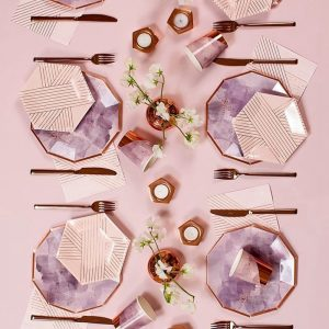 1 Set Pink and Fancy Disposable Tableware