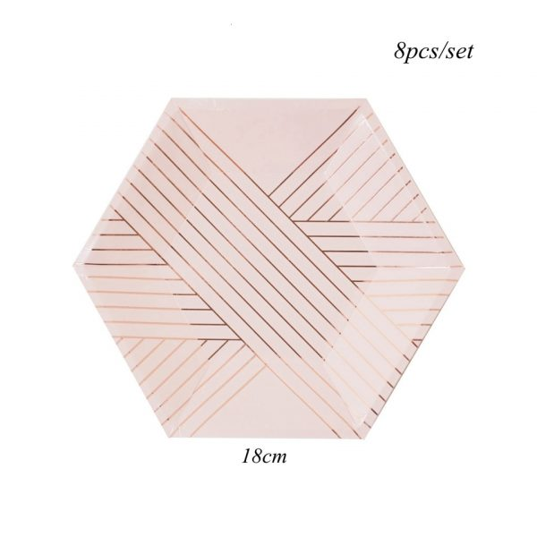 1Set Pink Striped Gilding Paper Disposable Tableware DIY Paper Plates Tableware for Wedding Birthday Party Supplies 5