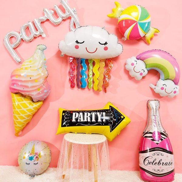 32Inch Donut Digital Foil Balloon Fruit Ice Cream Helium Balloon Birthday Party Decoration Kids Toy Sweet 1