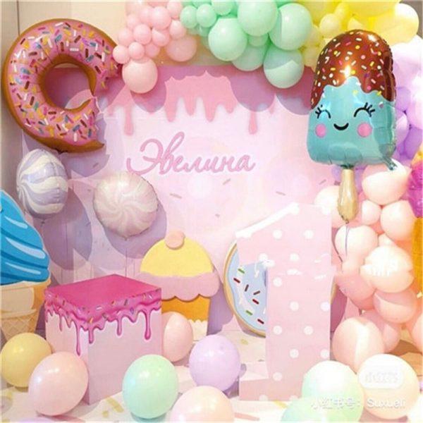 32Inch Donut Digital Foil Balloon Fruit Ice Cream Helium Balloon Birthday Party Decoration Kids Toy Sweet