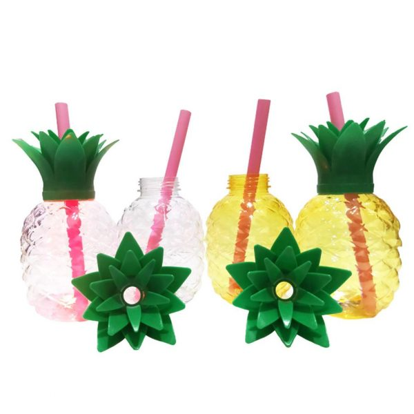 500ML Pineapple Shaped Cup Recycled Juice Milk Bottle With PP Straw Innovative Glowing Beverage Cup For 3