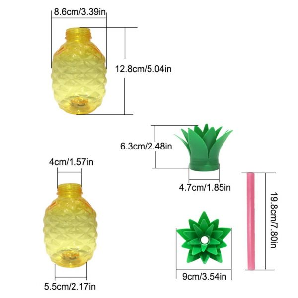 500ML Pineapple Shaped Cup Recycled Juice Milk Bottle With PP Straw Innovative Glowing Beverage Cup For 4
