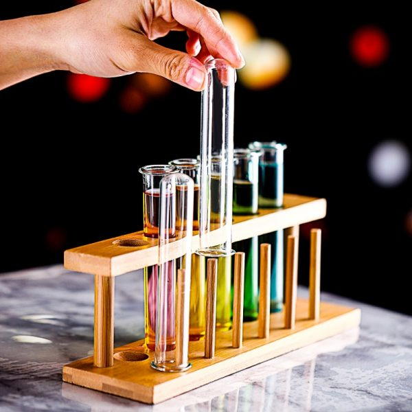 6 Piece Lot Test Tube Cocktail Glass Set With Free Rack Stand Bar KTV Night Club 2