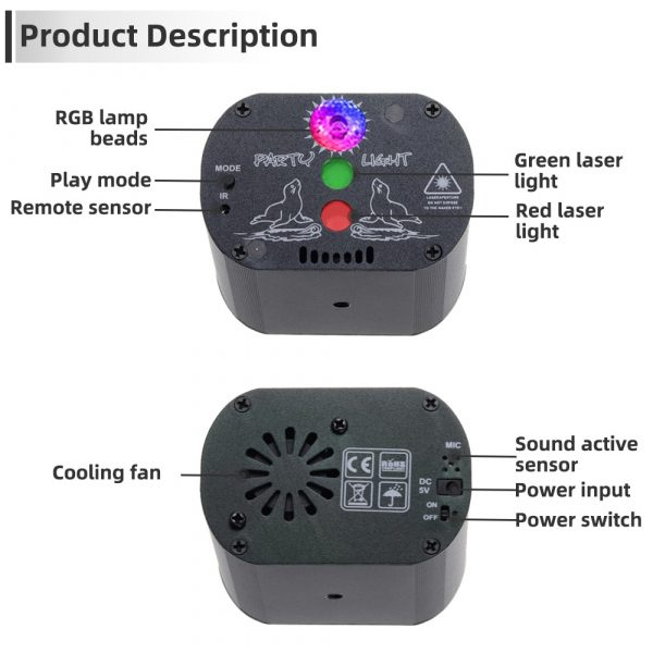 60 patterns Mini USB Charge DJ Disco Light Strobe Party Stage Lighting Effect Voice Control Laser 1