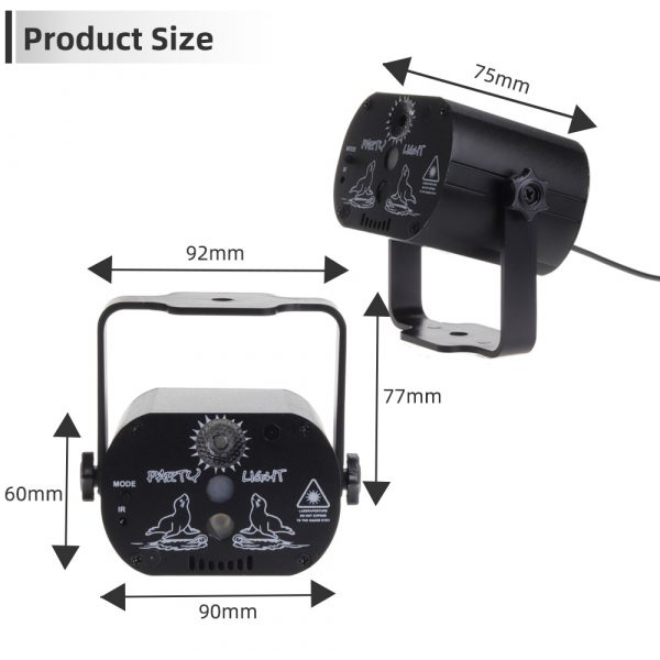 60 patterns Mini USB Charge DJ Disco Light Strobe Party Stage Lighting Effect Voice Control Laser 2
