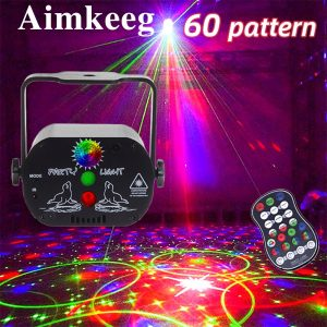 60 patterns Mini USB Charge DJ Disco Light Strobe Party Stage Lighting Effect Voice Control Laser