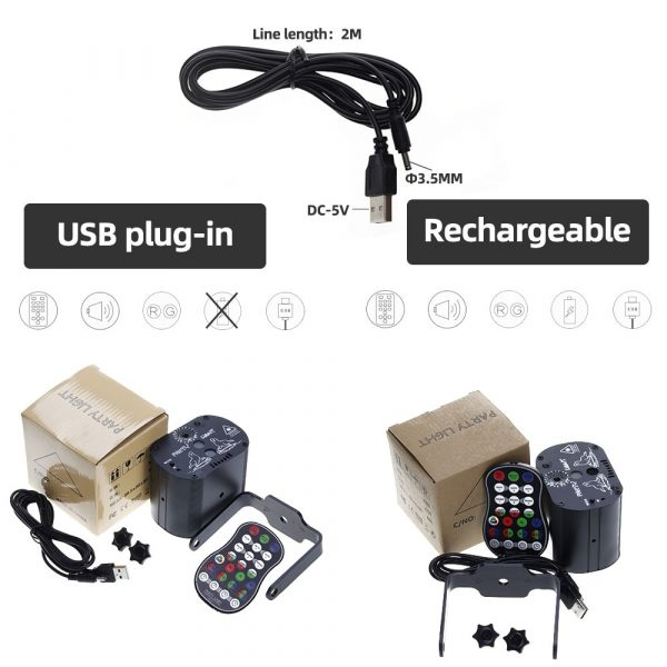 60 patterns Mini USB Charge DJ Disco Light Strobe Party Stage Lighting Effect Voice Control Laser 4