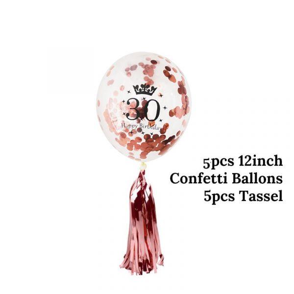 Birthday Party Decorations Adult 5pcs 30 40 50th Happy Birthday Confetti Balloons Rose Gold Tassels Anniversary 2
