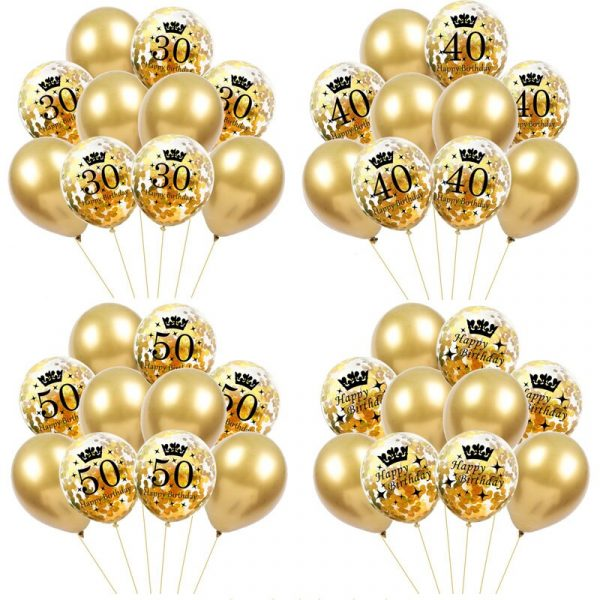 Birthday Party Decorations Adult 5pcs 30 40 50th Happy Birthday Confetti Balloons Rose Gold Tassels Anniversary