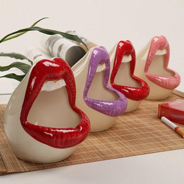 Cute Cartoon Ashtray Lips Ceramic Ashtray Creative Flower Pot Trendy Mouth Fashion Home Mini Send Boyfriend
