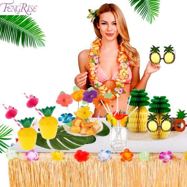 FENGRISE Palm Leaf Hawaiian Party Decorations Hawaii Tropical Party Summer Flamingo Party Luau Wedding Decor Aloha 2