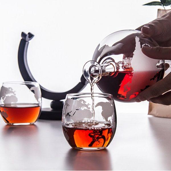 Globe Decanter with Finished Wood Stand Bar Nightclub Funnel Wine Mini Globe Machines Map Earth Wine 1