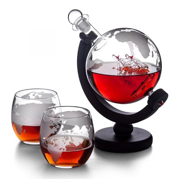 Globe Decanter with Finished Wood Stand Bar Nightclub Funnel Wine Mini Globe Machines Map Earth Wine 2