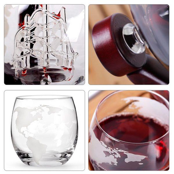 Globe Decanter with Finished Wood Stand Bar Nightclub Funnel Wine Mini Globe Machines Map Earth Wine 4