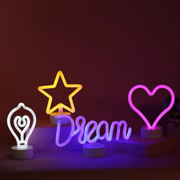 LED Neon Lights Table Lamp Letter Sign Art Decorative for Holiday Wedding Party Bar Shop Bedroom