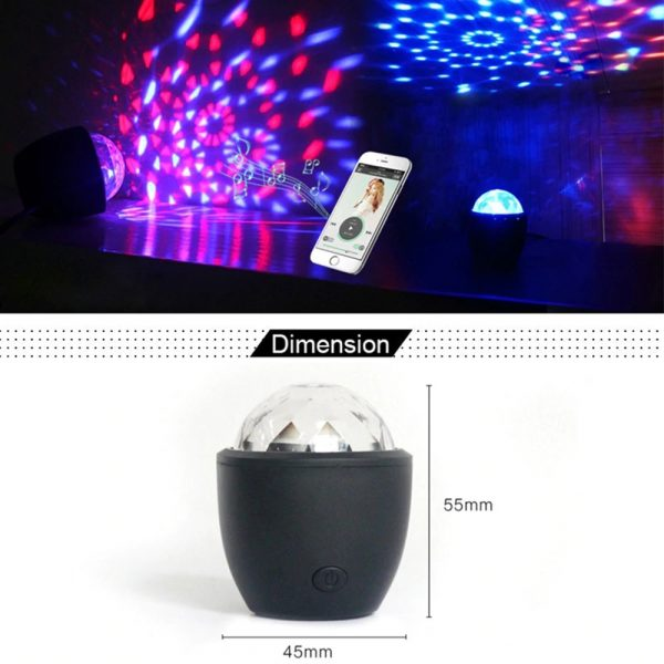 Mini stage light 3W USB powered Sound actived Multicolor Disco ball magic effect lamp For Birthday 3