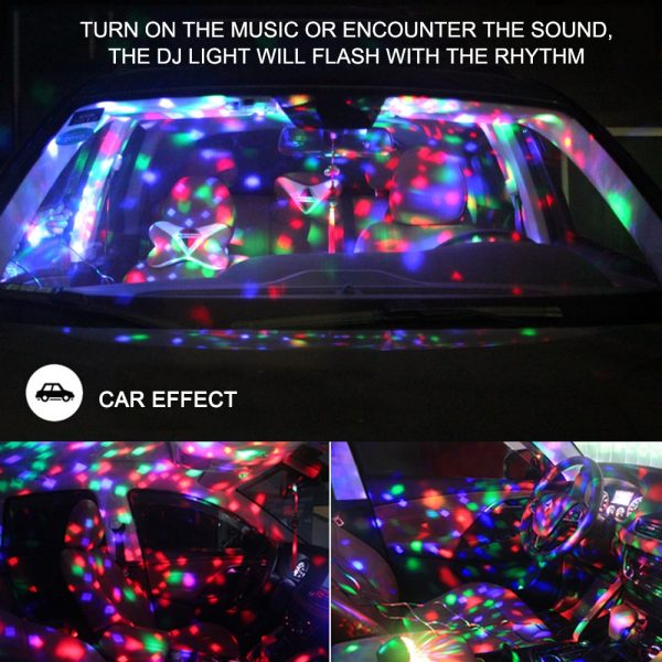 Mini stage light 3W USB powered Sound actived Multicolor Disco ball magic effect lamp For Birthday 5