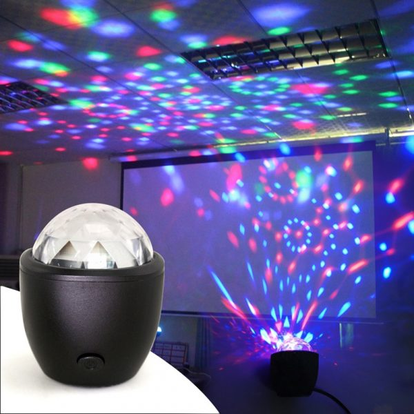 Mini stage light 3W USB powered Sound actived Multicolor Disco ball magic effect lamp For Birthday
