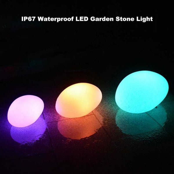 Outdoor Glow Cobblestone Shape Garden Decor Lights RGB Remote Control Waterproof Landscape Night Lights for Lawn 2