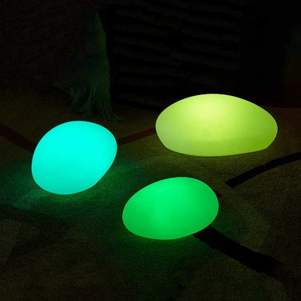 Outdoor Glow Cobblestone Shape Garden Decor Lights RGB Remote Control Waterproof Landscape Night Lights for Lawn 3