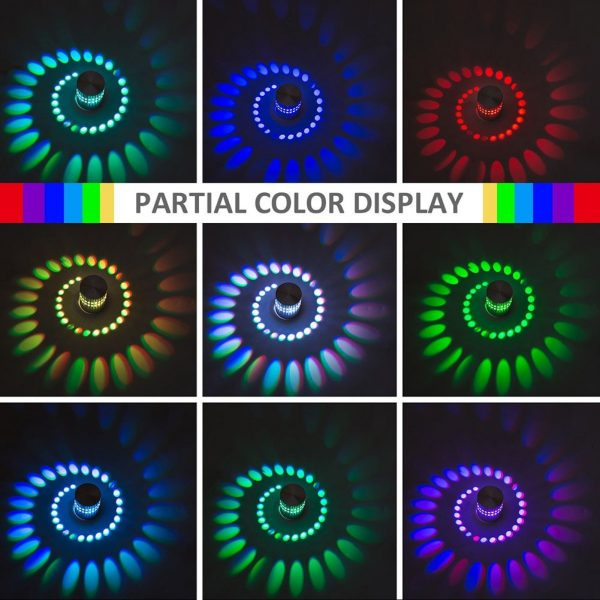 RGB Spiral Hole LED Wall Light Effect Wall Lamp With Remote Controller Colorful Wandlamp For Party 5
